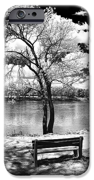 Monotone Photographs iPhone Cases - Along the River iPhone Case by John Rizzuto