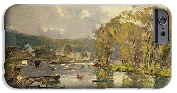 Charles River iPhone Cases - Along the Seine at Meudon iPhone Case by Albert Charles Lebourg