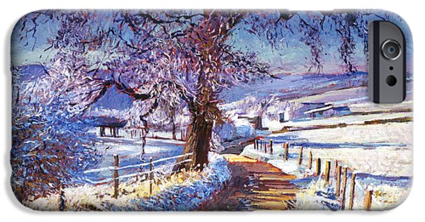 Country Road iPhone Cases - Along The Snow Lined Road iPhone Case by David Lloyd Glover