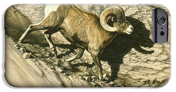 Yellowstone Park iPhone Cases - Along the Wall-Bighorn Ram iPhone Case by Paul Krapf