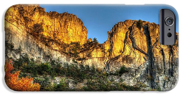 West Fork iPhone Cases - Alpenglow at Days End Seneca Rocks - Seneca Rocks National Recreation Area WV Autumn Early Evening iPhone Case by Michael Mazaika
