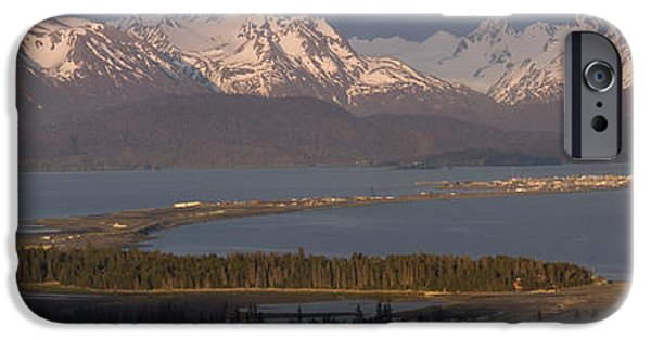 Spit iPhone Cases - Alpenglow Light On Homer Spit & Kenai iPhone Case by Scott Dickerson
