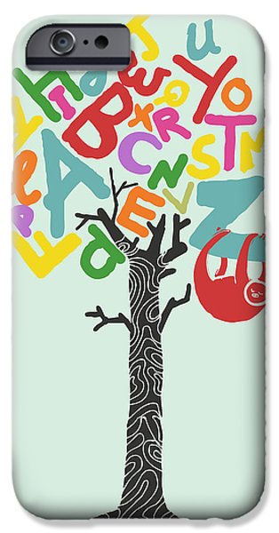 Sloth iPhone Cases - Alphabet tree iPhone Case by Budi Satria Kwan