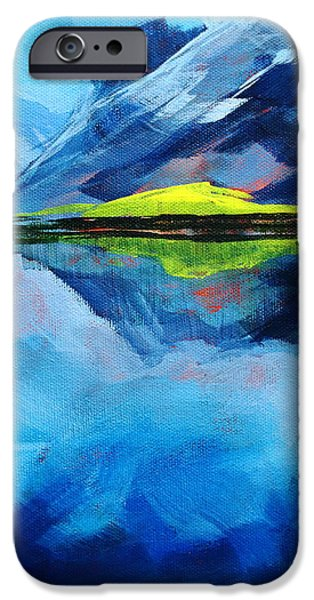 Reflecting Water Paintings iPhone Cases - Alpine Lake Mountain Landscape Painting iPhone Case by Nancy Merkle