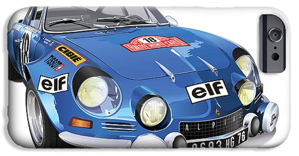 Rally iPhone Cases - Renault Alpine A110 iPhone Case by Alain Jamar