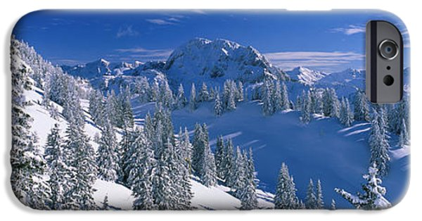 Snowy Day iPhone Cases - Alpine Scene, Bavaria, Germany iPhone Case by Panoramic Images