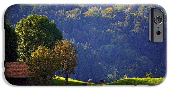 Swiss Landscape iPhone Cases - Alpine Summer Scene in Switzerland iPhone Case by Susanne Van Hulst