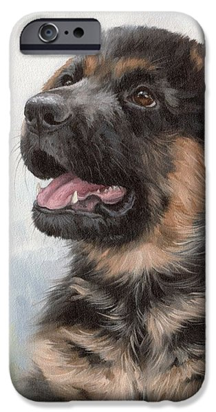 Cute Puppy iPhone Cases - Alsatian Puppy Painting iPhone Case by Rachel Stribbling