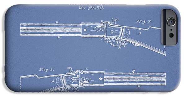 Weapon iPhone Cases - Alston Firearm Patent Drawing from 1887- Light Blue iPhone Case by Aged Pixel