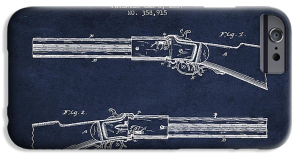Weapon iPhone Cases - Alston Firearm Patent Drawing from 1887- Navy Blue iPhone Case by Aged Pixel