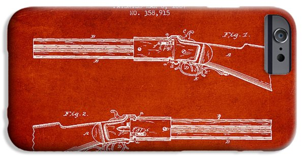 Weapon iPhone Cases - Alston Firearm Patent Drawing from 1887- Red iPhone Case by Aged Pixel