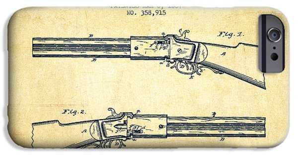Weapon iPhone Cases - Alston Firearm Patent Drawing from 1887- Vintage iPhone Case by Aged Pixel