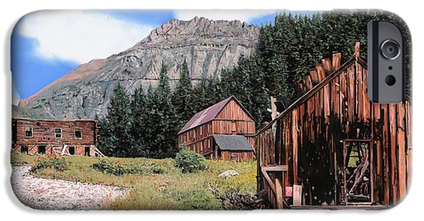 Pine Paintings iPhone Cases - Alta in Colorado iPhone Case by Guido Borelli