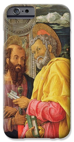 Evangelist iPhone Cases - Altarpiece From San Zeno Maggiore, Verona, Detail Of The Left Hand Panel Showing Saint Peter iPhone Case by Andrea Mantegna
