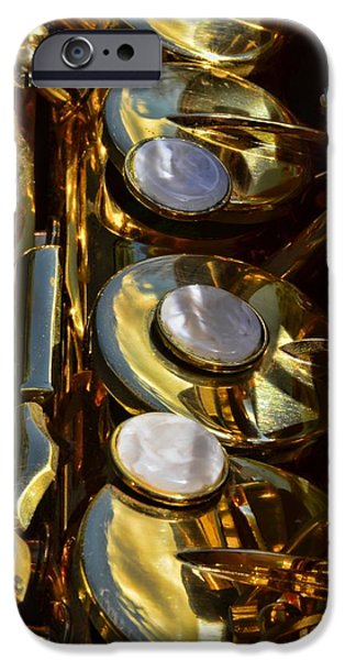 Marching Band Photographs iPhone Cases - Alto Sax Reflections iPhone Case by Ken Smith