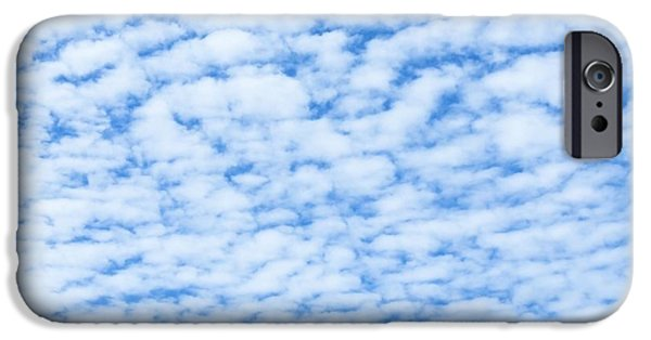 Blue Abstracts iPhone Cases - Altocumulus clouds iPhone Case by Chompoo Tuck