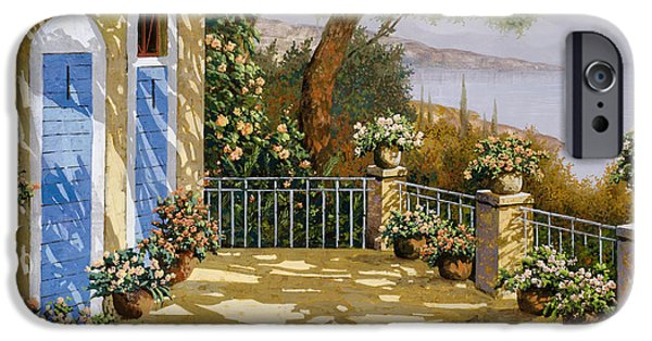 Terraces iPhone Cases - Altre Porte Blu iPhone Case by Guido Borelli