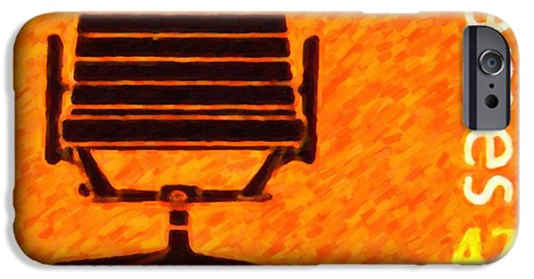 Empty Chairs Paintings iPhone Cases - Aluminum group chair iPhone Case by Lanjee Chee