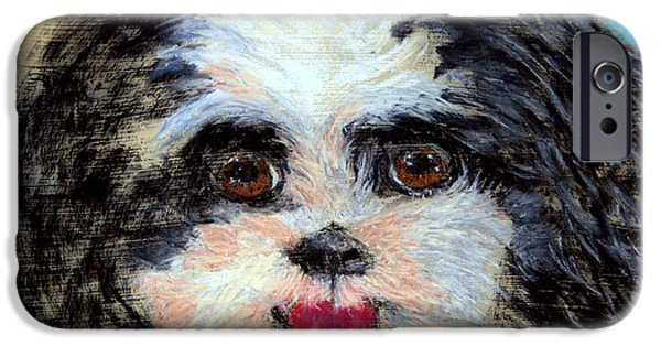 Puppies Pastels iPhone Cases - Always a Happy Face WIP iPhone Case by Antonia Citrino