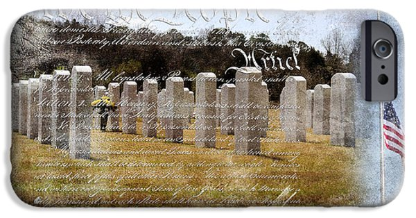 Soldiers National Cemetery Digital iPhone Cases - Always Remember iPhone Case by Davina Washington