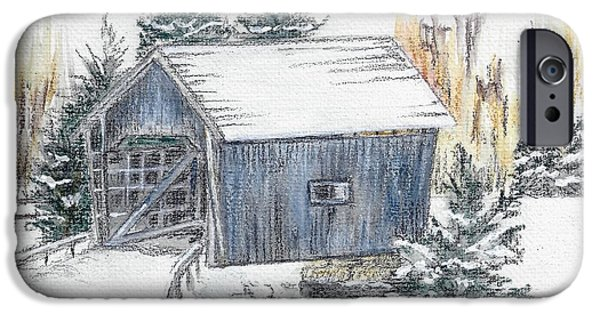 Covered Bridge Pastels iPhone Cases - A.M. Foster Bridge 1 Cabot VT iPhone Case by Judith Rice