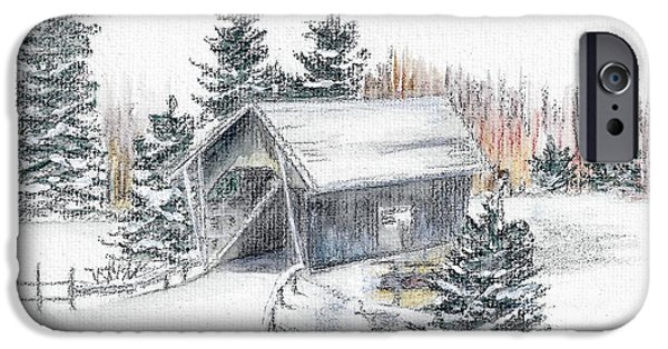 Covered Bridge Pastels iPhone Cases - A.M. Foster Bridge 2 Cabot VT iPhone Case by Judith Rice
