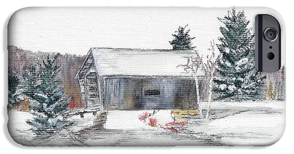 Covered Bridge Pastels iPhone Cases - A.M. Foster Bridge 4 Cabot VT iPhone Case by Judith Rice
