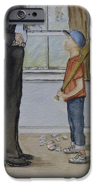 Softball Paintings iPhone Cases - Am I in trouble Dad... Broken Window iPhone Case by Kelly Mills
