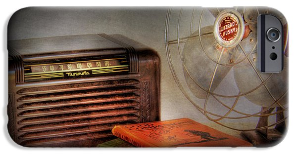 Electronic iPhone Cases - AM Radio Books and Electric Fan iPhone Case by David and Carol Kelly