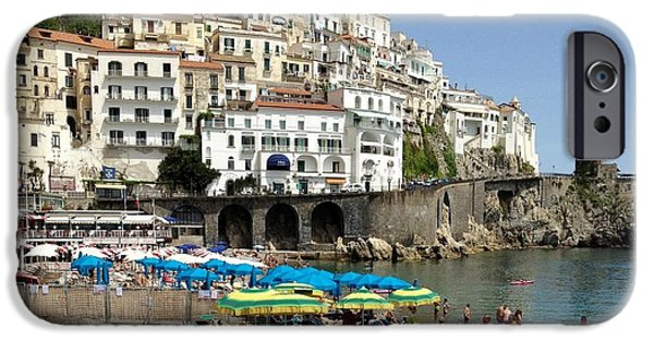 Bathers iPhone Cases - Amalfi Beach iPhone Case by Marilyn Dunlap