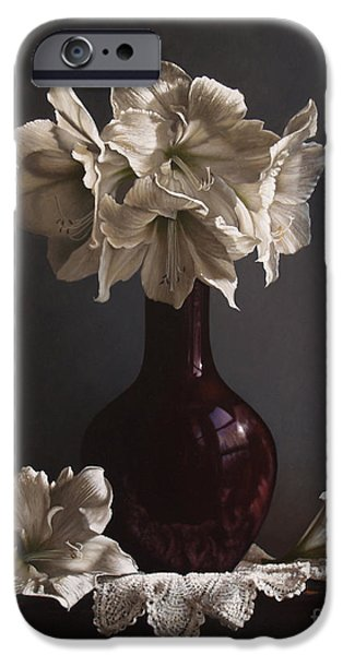 Vase iPhone Cases - Amaryllis  iPhone Case by Larry Preston