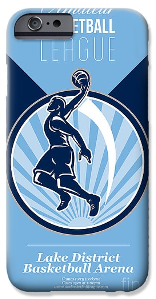 American Basketball Player iPhone Cases - Amateur Basketball League Retro Poster iPhone Case by Aloysius Patrimonio