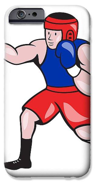 Amateur Boxer Boxing Cartoon iPhone Case by Aloysius Patrimonio