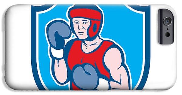 Boxer Digital iPhone Cases - Amateur Boxer Stance Shield Cartoon iPhone Case by Aloysius Patrimonio