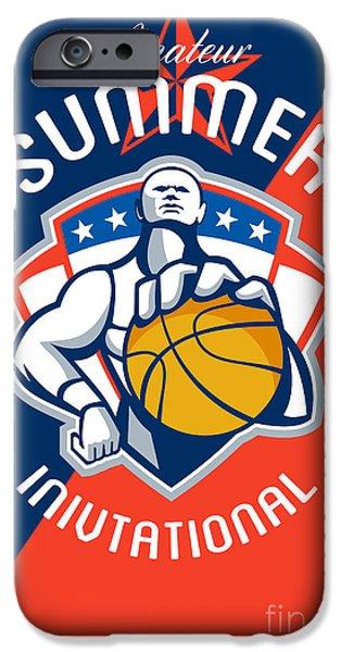 Baller iPhone Cases - Amateur Summer Invitational Basketball Poster iPhone Case by Aloysius Patrimonio