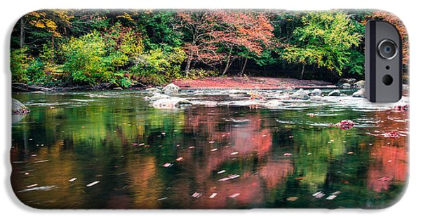 Turning Leaves iPhone Cases - Amazing fall foliage along a river in New England iPhone Case by Edward Fielding