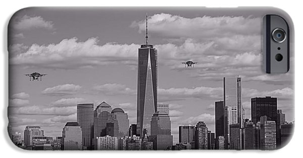Buildings Mixed Media iPhone Cases - Amazon Drones In New York City iPhone Case by Dan Sproul