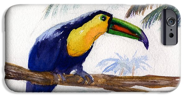 Yellow Beak Paintings iPhone Cases - Amazonian iPhone Case by Mohamed Hirji