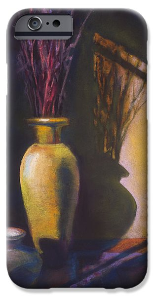 Interior Still Life Pastels iPhone Cases - Amber Afternoon iPhone Case by Marjie EakinPetty