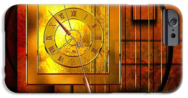 Abstract Digital Digital Art iPhone Cases - Amber Clock iPhone Case by Franziskus Pfleghart