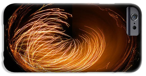 4th Of July iPhone Cases - Amber Fireworks Polar View iPhone Case by Thomas Woolworth