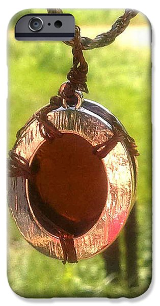 Fantasy Jewelry iPhone Cases - Amber Glass Pendant in Silver and Copper iPhone Case by Bethany Jordan