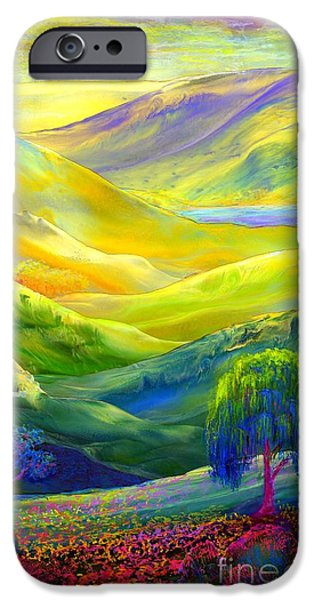 Dream Paintings iPhone Cases - Amber Skies iPhone Case by Jane Small
