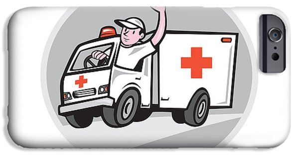 Ambulance iPhone Cases - Ambulance Emergency Vehicle Driver Waving Cartoon iPhone Case by Aloysius Patrimonio