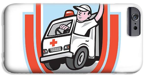 Ambulance iPhone Cases - Ambulance Emergency Vehicle Driver Waving Shield Cartoon iPhone Case by Aloysius Patrimonio
