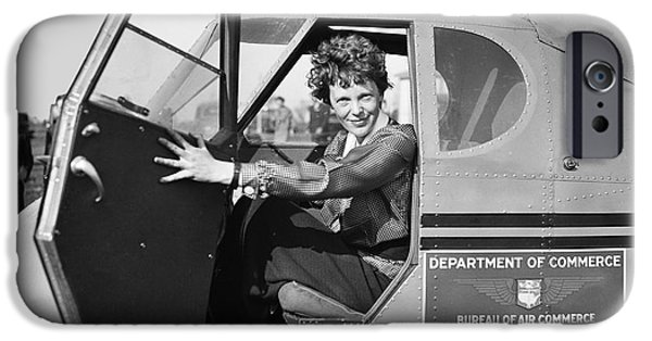Flight iPhone Cases - Amelia Earhart - 1936 iPhone Case by Daniel Hagerman