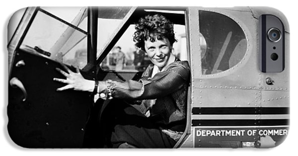 Aeronautics iPhone Cases - Amelia Earhart 1936 iPhone Case by Mountain Dreams