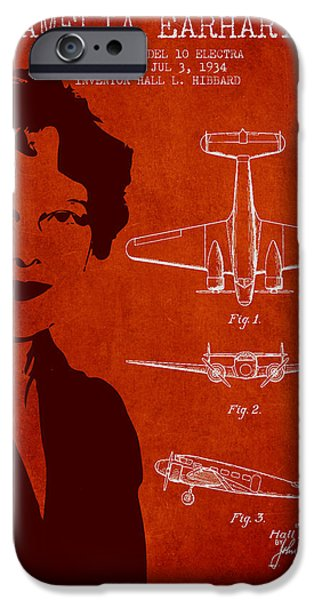 Technical iPhone Cases - Amelia Earhart Lockheed Airplane patent from 1934 - Red iPhone Case by Aged Pixel