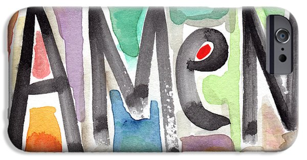 Painted Mixed Media iPhone Cases - AMEN Greeting Card iPhone Case by Linda Woods