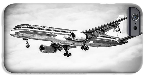 Flight iPhone Cases - Amercian Airlines 757 Airplane in Black and White iPhone Case by Paul Velgos
